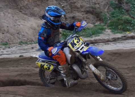 Motorcross racer shows athleticism off campus