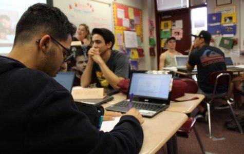 Senior Bruno Ferreira prepares his common application essay in Mrs. Collins' Language Arts class.