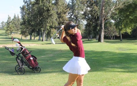 Taylor Hunter, sophomore,  swings into action during a match against El Dorado High School at Yorba Linda Country Club.