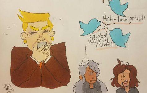Cartoonist Dalilah Romo comments on Trump's Twitter behavior.