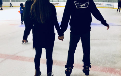 Alyssa Laske, senior, and her boyfriend Raul Jarquin skate away on the ice at The Rinks in Yorba Linda.
