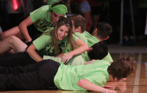 Senior Kennedy Smith fighting for the class of 2018 during Friday's Clash of the Classes assembly.