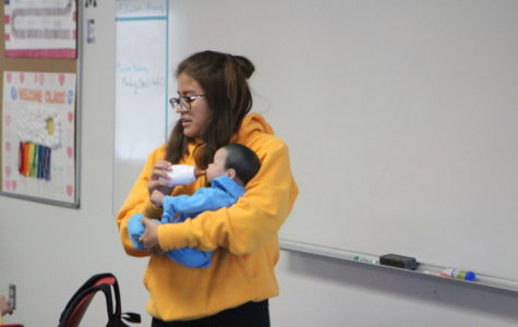 Marianna Frias, junior, taking care of her child development baby in 4th period last week.