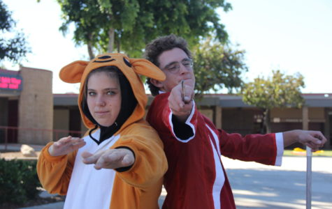 Freshman Autumn Blais, and sophomore Aidan Dobyns dressing up in their favorite halloween costumes.