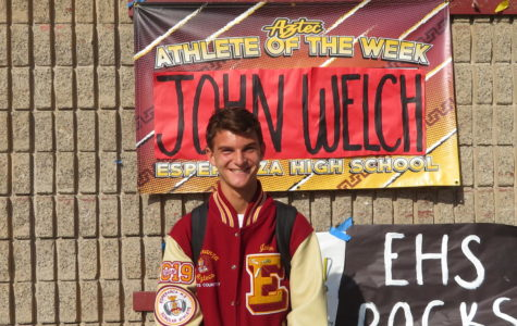 John Welch Captain of the cross country team is seen with a beaming smile after being athlete of the week on October 8th.
