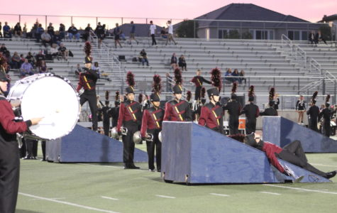 Band performing at a football game.
