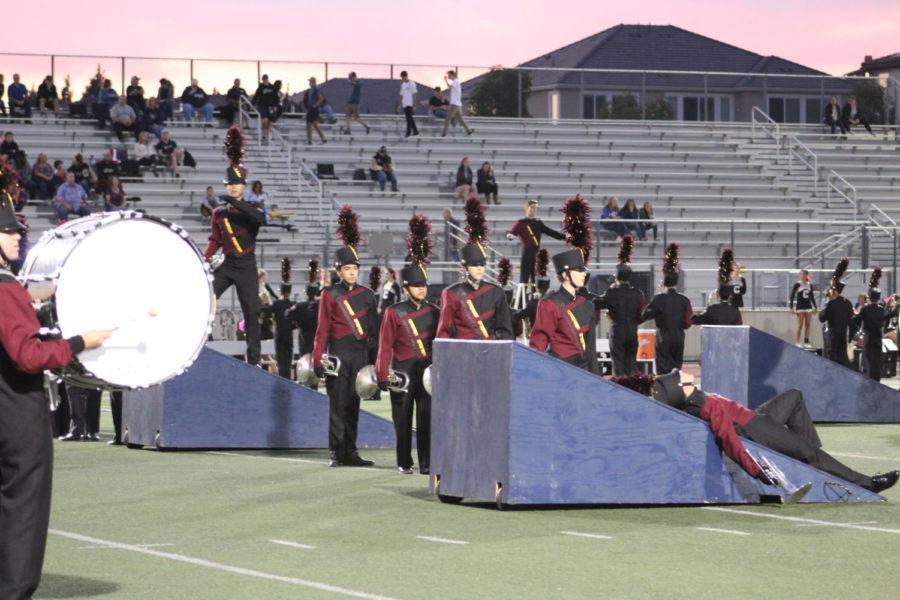 Band performing at a football game.