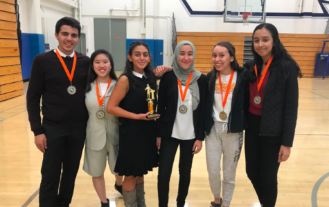From our speech and debate team, (left to right) Paul Rihani, Elizabeth Wiriadinata, Emilia Shahverdian, Hanan Hashem, Alaura Contreras, and Yareth Fernandez all won an award for their excellent speeches.