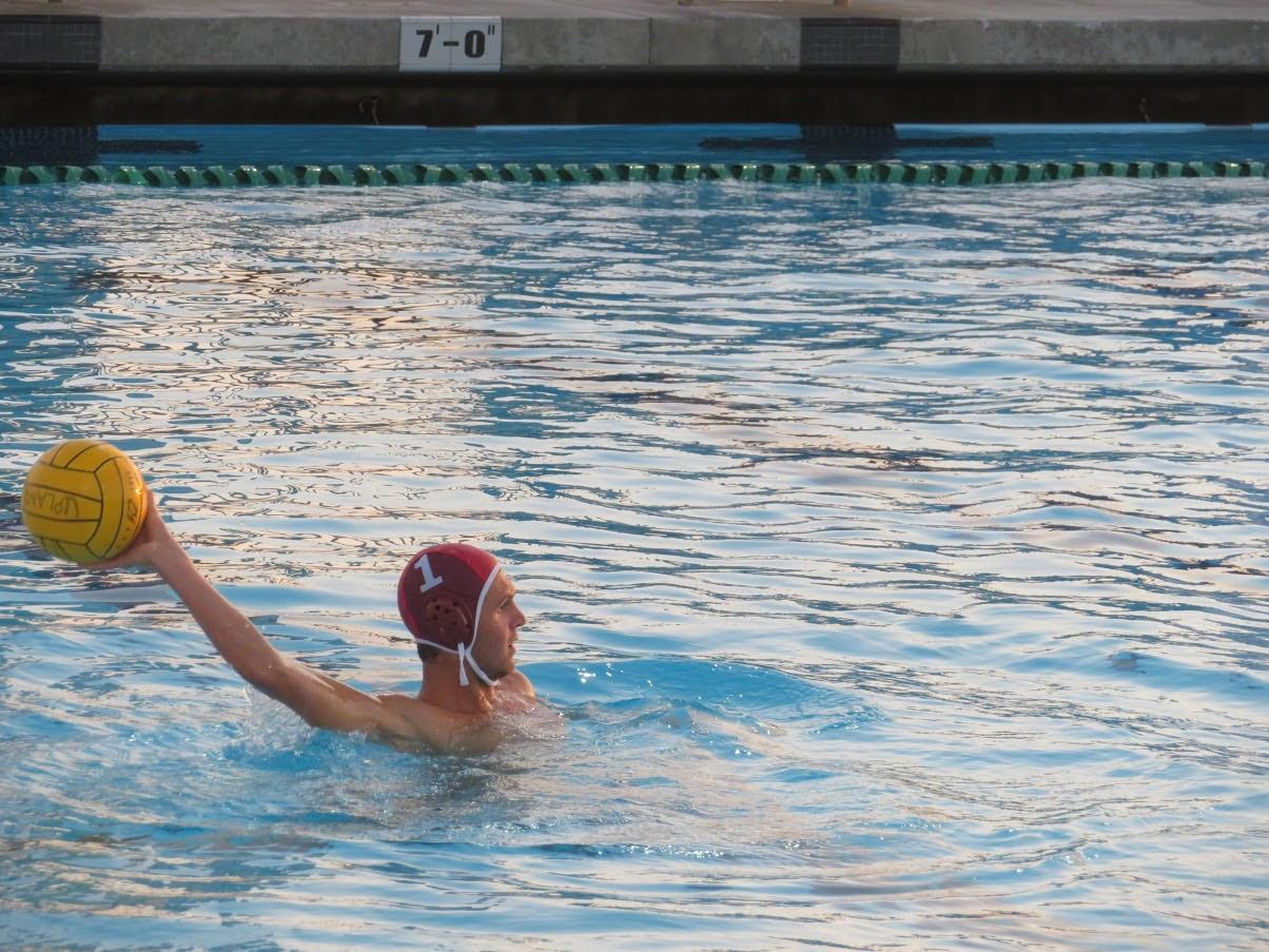 Senior Ethan Ogren is goalkeeping for the men's water polo game on October 30 2018.