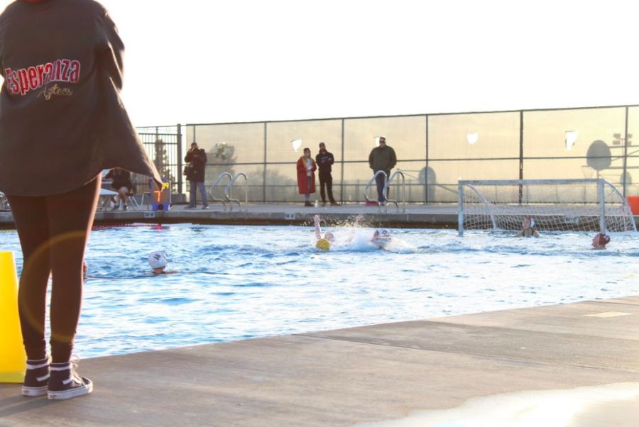EHS+varsity+girls+water+polo+team+at+their+game+against+Yorba+Linda+on+Feb.+5