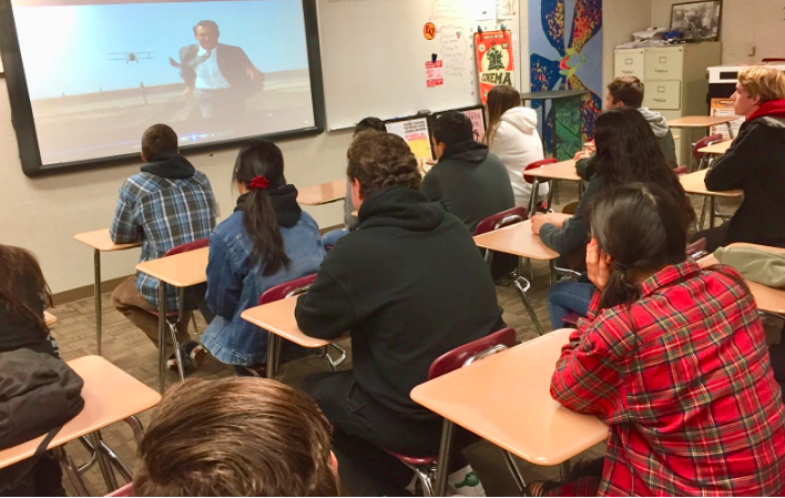 Students in Nordwick's period four Film Appreciation watching a movie. The students learned more about Carrie Fisher than just her famous role in Star Wars.