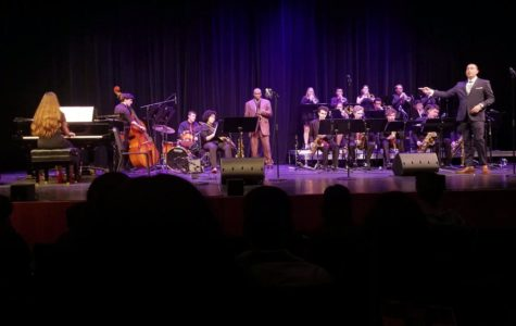Pictured here is Jazz 1 performing at the 2019 Big Band Blowout with guest artist James Carter, centered.