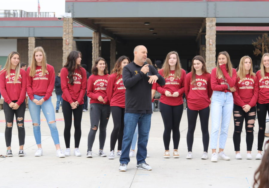 Varsity+volleyball+coach+Isaac+Owens+sharing+his+thoughts+on+becoming+CIF+champions.