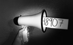A megaphone shouts out the freedom of speech attained from the California Education Code: 48907. The Aztlán staff  has begun another year of writing and again promoted the use of code 48907.
