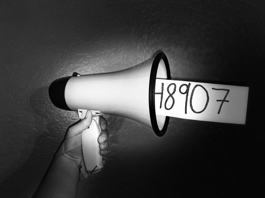 A+megaphone+shouts+out+the+freedom+of+speech+attained+from+the+California+Education+Code%3A+48907.+The+Aztl%C3%A1n+staff++has+begun+another+year+of+writing+and+again+promoted+the+use+of+code+48907.+
