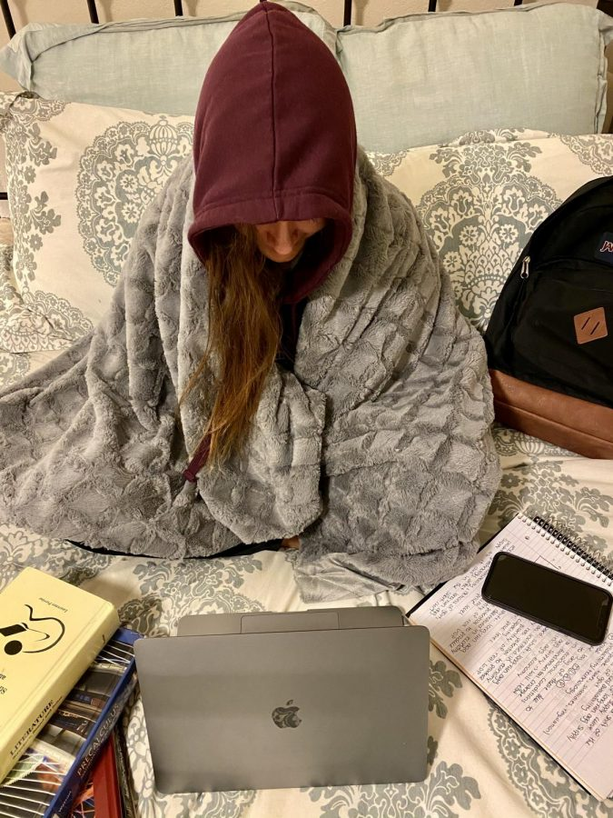 While distance learning, student does not participate in class or properly get ready for their day of school. This leads to a decline in one's mental health.